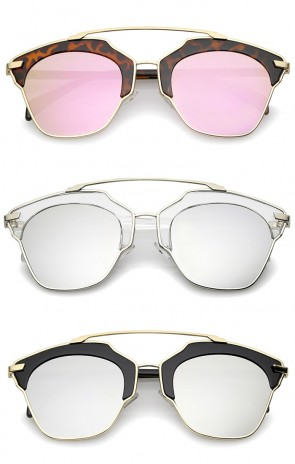 High Fashion Two-Toned Pantos Crossbar Colored Mirror Lens Aviator Sunglasses 52mm