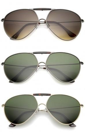Casual Brow Bar Detail Slim Temple Metal Frame Aviator Sunglasses 62mm