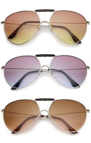 Modern Brow Bar Slim Temple Metal Frame Gradient Colored Lens Aviator Sunglasses 62mm