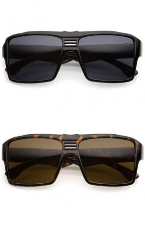Men's Oversize Metal Accent Wide Temple Flat Top Square Sunglasses 57mm