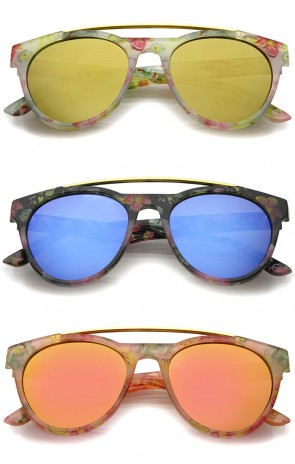 Floral Print Metal Brow Bar Colored Mirror Lens P3 Round Sunglasses 50mm