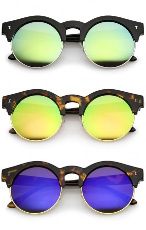 Modern Metal Trim Colored Mirror Round Flat Lens Half Frame Sunglasses 51mm
