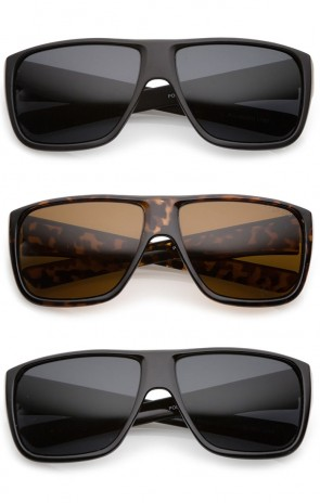 Men's Oversize Flat Top Wide Temple Polarized Lens Square Sunglasses 62mm