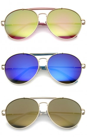 Oversize Double Nose Bridge Round Colored Mirror Lens Aviator Sunglasses 58mm