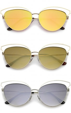 Women's Open Metal Frame Colored Mirror Oversize Cat Eye Sunglasses 58mm