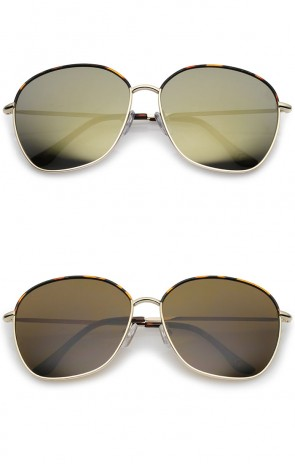 Mod Oversize Two-Toned Metal Frame Slim Temples Square Sunglasses 61mm