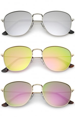 Classic Metal Frame Ultra Slim Temples Colored Mirror Lens Square Sunglasses 53mm
