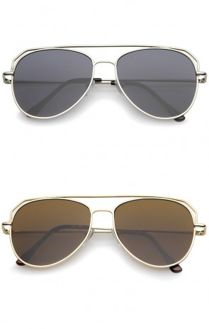 Modern Flat Top Slim Temple Super Flat Lens Aviator Sunglasses 55mm