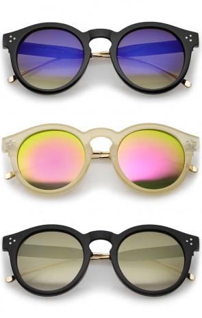 Metal Temple Keyhole Bridge Colored Mirror Lens P3 Round Sunglasses 50mm