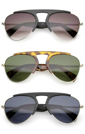 Bold Brow Bar Keyhole Nose Bridge Neutral-Colored Lens Aviator Sunglasses 56mm