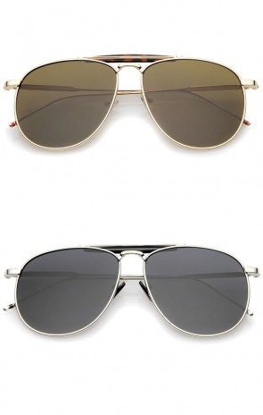 Oversize Metal Double Nose Bridge Ultra Slim Temple Super Flat Lens Aviator Sunglasses 57mm