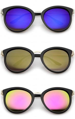Modern Slim Metal Temple Colored Mirror Lens Cat Eye Sunglasses 54mm
