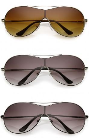 Futuristic Oversize Crossbar Metal Frame Mono Lens Shield Sunglasses 75mm