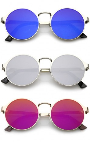 Modern Metal Slim Arms Colored Mirror Flat Lens Round Sunglasses 51mm