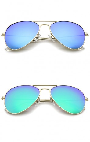 Classic Matte Metal Frame Colored Mirror Lens Aviator Sunglasses 57mm
