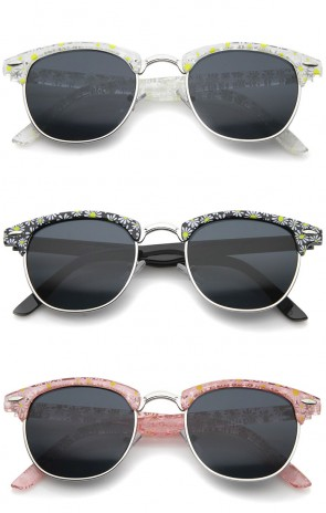 Retro Transparent Daisy Floral Print Half-Frame Horn Rimmed Sunglasses 50mm
