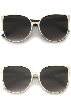 Women's Oversize Metal Front Flat Lens Cat Eye Sunglasses 59mm