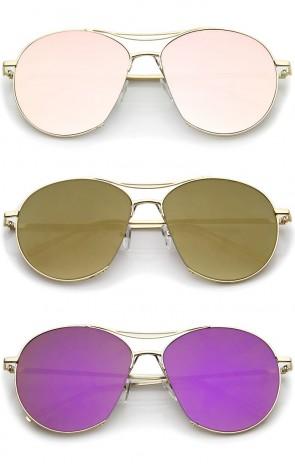 Oversized Thin Metal Frame Semi-Rimless Colored Mirror Flat Lens Aviator Sunglasses 60mm