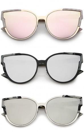 Women's Metal Frame Colored Mirror Flat Lens Cat Eye Sunglasses 56mm