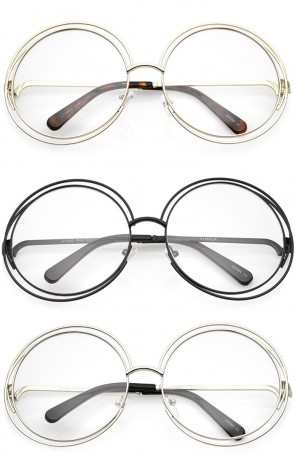 Women's Oversize Wire Frame Clear Lens Round Eyeglasses 62mm