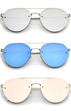 Modern Slim Temple Brow Bar Rimless Colored Mirror Flat Lens Aviator Sunglasses 59mm