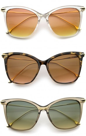 Oversize Ultra Slim Metal Temples Gradient Colored Lens Cat Eye Sunglasses 55mm