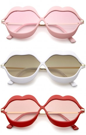 Oversize Lip Shape Frame Metal Temples Gradient Lens Novelty Sunglasses 63mm