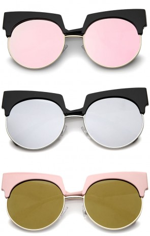 Bold Wide Temple Colored Mirror Round Lens Half-Frame Cat Eye Sunglasses 57mm
