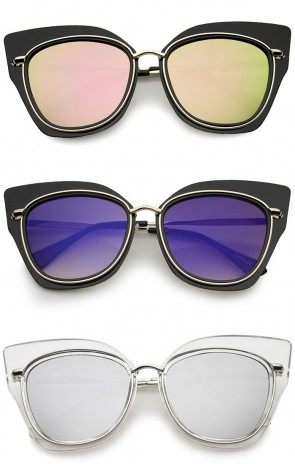 Women's Oversize Open Metal Colored Mirror Flat Lens Cat Eye Sunglasses 57mm