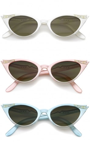 Women's Retro Rhinestone Embellished Cat Eye Sunglasses 51mm