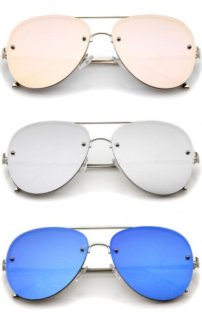 Modern Slim Metal Frame Brow Bar Colored Mirrored Flat Lens Aviator Sunglasses 60mm