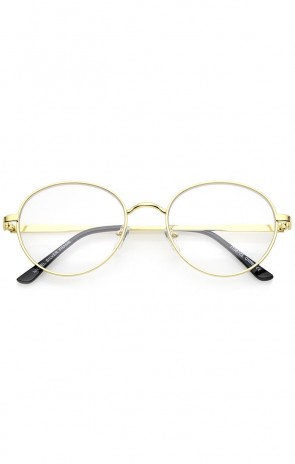 Classic Metal Frame Slim Temple Clear Lens Round Eyeglasses 53mm