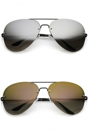 Oversize Metal Rimless Double Crossbar Mirrored Lens Aviator Sunglasses 65mm