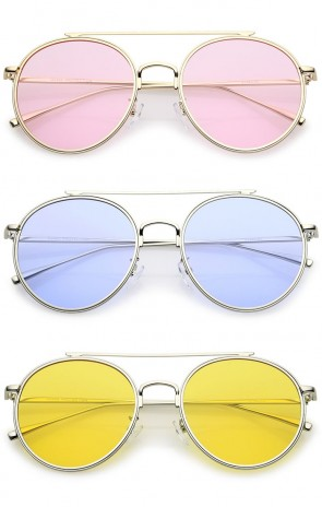 Modern Metal Crossbar Slim Temple Colored Flat Lens Round Aviator Sunglasses 54mm