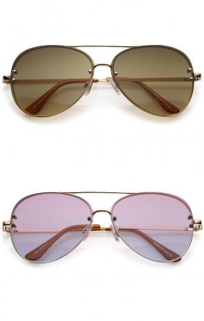 Oversize Rimless Double Crossbar Gradient Lens Aviator Sunglasses 61mm