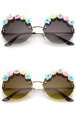 Women's Rimless Flower Accent Slim Arm Circle Lens Round Sunglasses 56mm