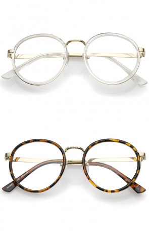 Classic Metal Frame Slim Temple Clear Lens Round Eyeglasses 49mm