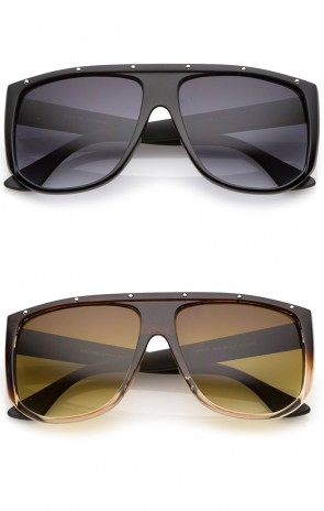 Oversize Stud Accents Wide Temple Square Lens Flat Top Sunglasses 62mm