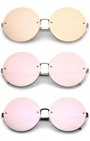mirrored womens sunglasses yy1f  Women's Oversize Rimless Pink Mirrored Flat Lens Round Sunglasses 65mm