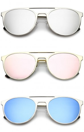 Casual Double Crossbar Colored Mirror Flat Lens Round Aviator Sunglasses 59mm