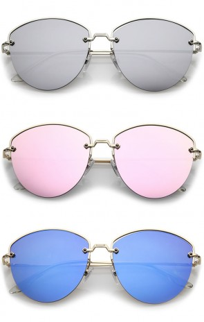 Modern Metal Nose Bridge Mirrored Flat Lens Semi-Rimless Sunglasses 60mm
