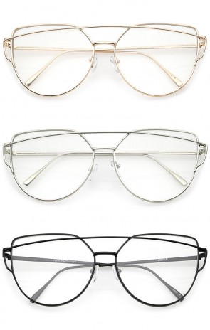 Oversize Metal Frame Thin Temple Clear Flat Lens Aviator Eyeglasses 62mm
