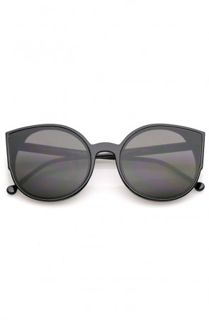 Women's Slim Arms Round Nuetral Colored Flat Lens Cat Eye Sunglasses 56mm