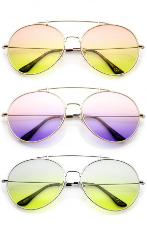 Oversize Metal Double Nose Bridge Slim Arms Gradient Round Lens Aviator Sunglasses 64mm