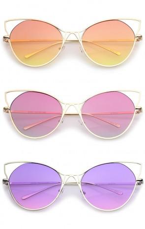 Women's Open Metal Slim Temple Gradient Flat Lens Oversize Cat Eye Sunglasses 60mm