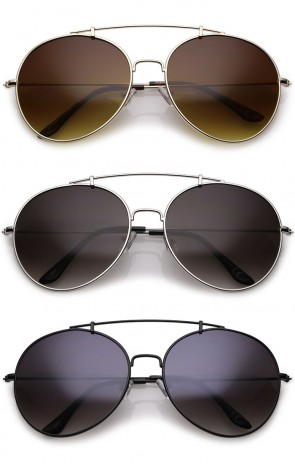 Classic Crossbar Metal Slim Arms Round Lens Aviator Sunglasses 65mm