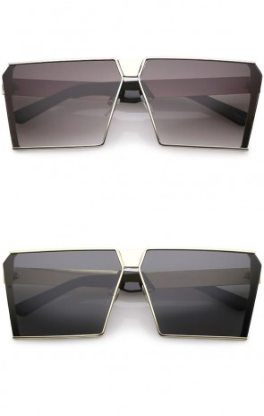 caa01f839c Oversize Modern Semi Rimless Metal Flat Lens Square Sunglasses 64mm