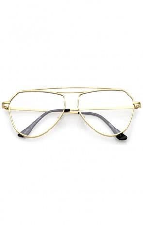 Modern Matte Metal Frame Double Nose Bridge Clear Flat Lens Aviator Eyeglasses 52mm
