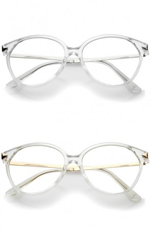 Classic Translucent Metal Arrow Temple Clear Lens Cat Eye Glasses 55mm