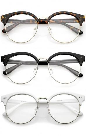 Classic Horn Rimmed Round Clear Flat Lens Half Frame Eyeglasses 55mm